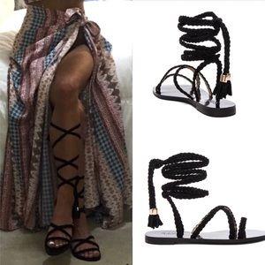 RAYE gladiator braided wrap tie black sandal 6 36